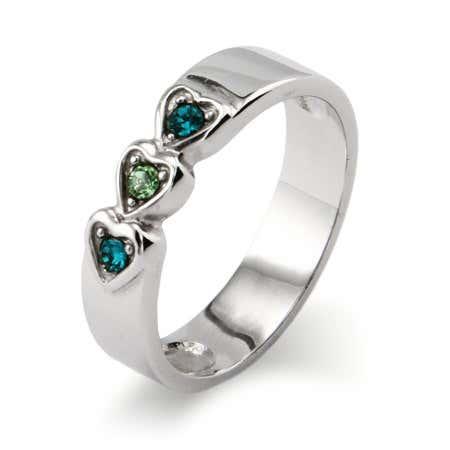 3 stone Austrian Crystal Engravable Birthstone Ring | Eve's Addiction®