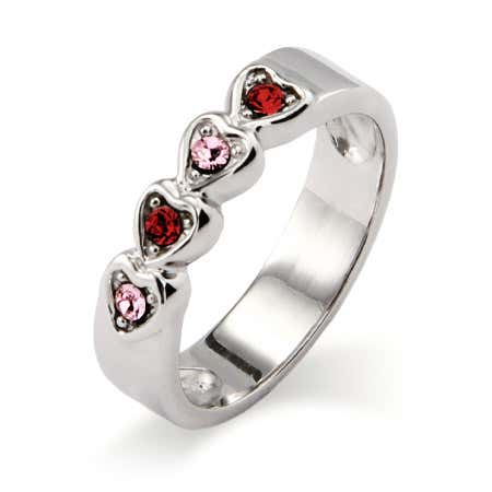 4 Stone Austrian Crystal Band of Hearts Family Ring