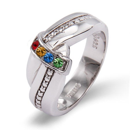 4 Stone Custom Birthstone Sterling Silver Mother's Love Knot Ring | Eve's Addiction®