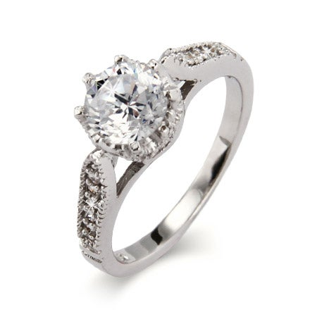 Sterling Silver Heirloom Design Crown Set CZ Ring | Eve's Addiction®