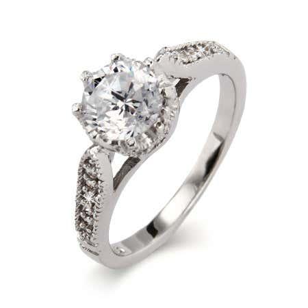 Sterling Silver Heirloom Design Crown Set CZ Ring   Eve's Addiction®
