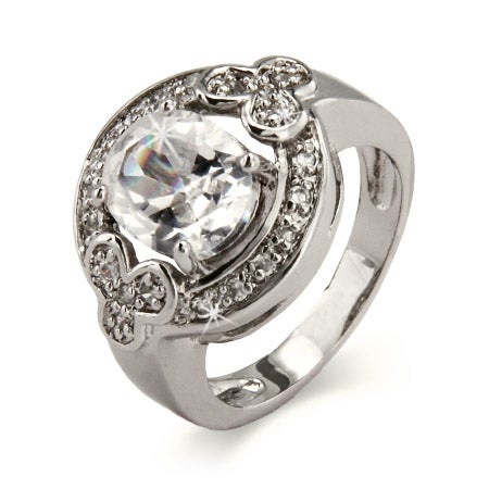 Diamond CZ Oval Cut Halo Ring in Sterling Silver | Eve's Addiction®
