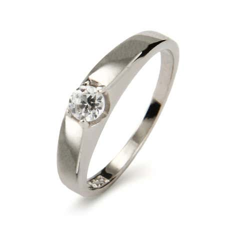 Petite Solitaire Brilliant Cut Sterling Silver Promise Ring