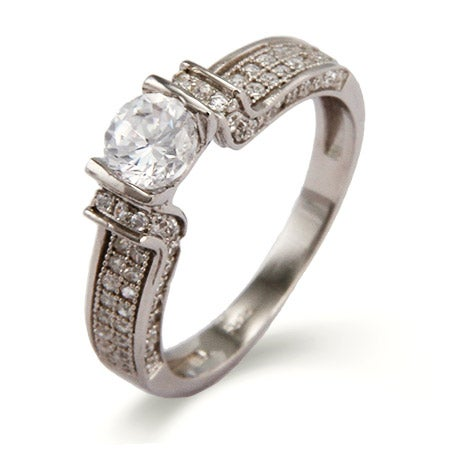 Sparkling Diamond CZ Brilliant Cut Engagement Ring | Eve's Addiction®