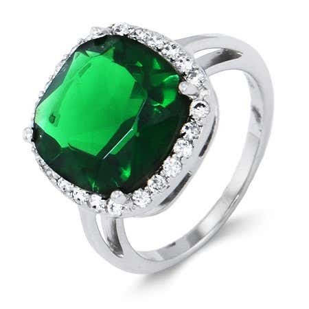 Cushion Cut Emerald Green CZ Ring in Sterling Silver