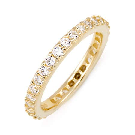 Brilliant Cut CZ Gold Vermeil Eternity Band