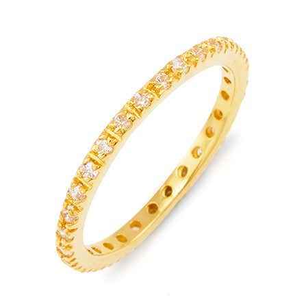Thin Gold Vermeil Pave CZ Stackable Ring
