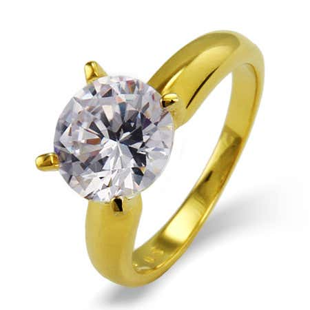 display slide 1 of 2 - Brilliant Cut 2.75 Carat Solitaire Gold Vermeil CZ Engagement Ring - selected slide
