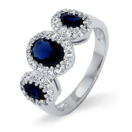 3 Stone Oval Cut Sapphire Blue CZ Ring | Eve's Addiction®