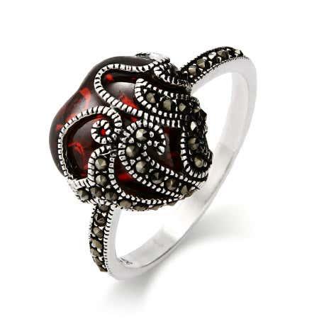 Garnet Glass Heart Sterling Silver Marcasite Ring