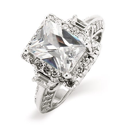 2.6 Carat Emerald Cut Diamond CZ Engagement Ring with Baguettes