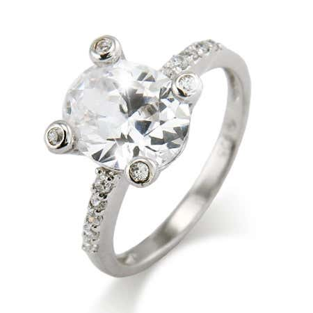 Vintage Four Prong Bezel Set Oval CZ Ring