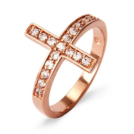 Rose Gold Vermeil Sideways Cross Ring | Eve's Addiction®