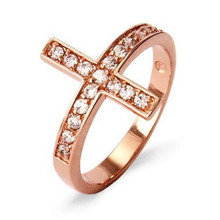 Rose Gold Vermeil Sideways Cross Ring