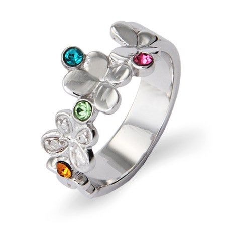 4 Birthstone Butterflies Design Engravable Ring in Sterling Silver | Eve's Addiction®