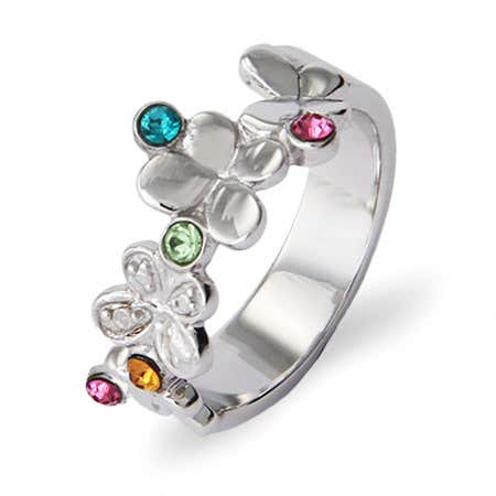 5 Birthstone Butterflies Silver Family Ring
