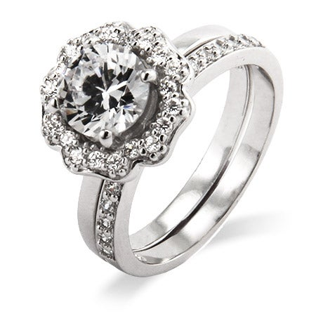 Blooming Flower CZ Engagement Ring Set in Sterling Silver | Eve's Addiction®
