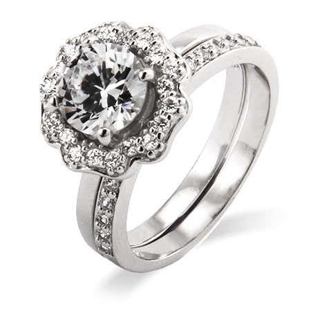 Art Deco cz engagement ring set in .925 sterling silver from eves addiction cz jewelry