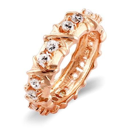 Designer Style 16 Stone Rose Gold Vermeil X Ring | Eve's Addiction®