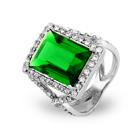 Green Emerald Cut CZ Cocktail Ring | Eve's Addiction