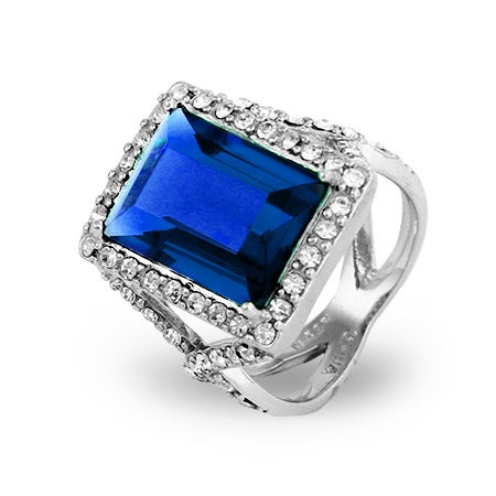 Dazzling Sapphire Blue Emerald Cut CZ Cocktail Ring | Eve's Addiction®
