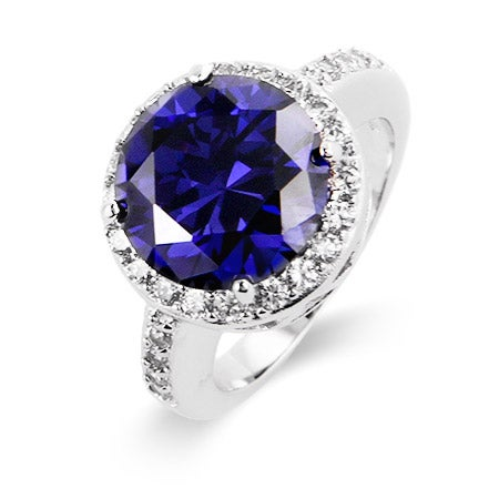 Sterling Silver Brilliant Cut Tanzanite CZ Halo Ring | Eve's Addiction®