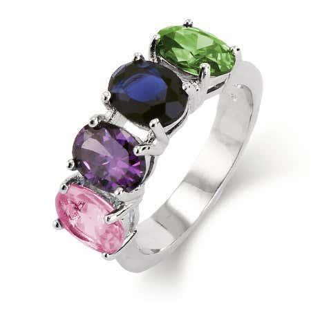 4 Stone Oval Cut Custom CZ Birthstone Ring | Eve's Addiction®