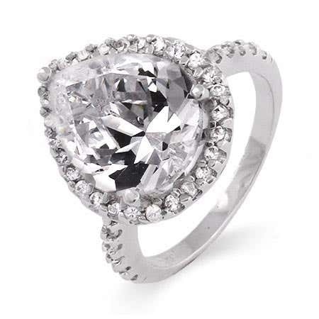 4 Carat Pearcut CZ Silver Engagement Ring