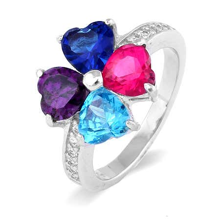 4 Stone Love Family Birthstone Ring