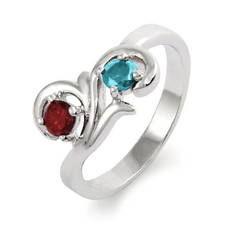 Two Birthstone Swirl Design Sterling Silver Ring | Eve's Addiction®