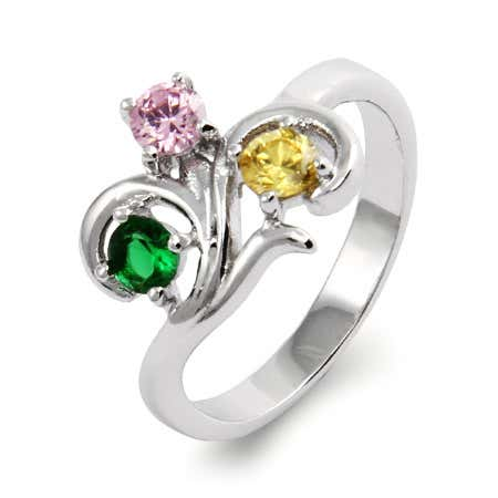 Close to the Heart 3 Stone Swirl Birthstone Ring | Eve's Addiction®