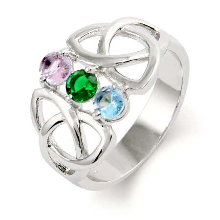 Customizable 3 Birthstone Celtic Trinity Ring