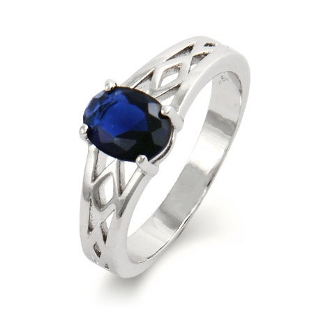 Single Stone Oval Cut CZ Woven Birthstone Ring | Eve's Addiction®