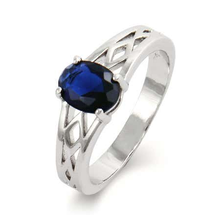 Single Stone Oval Cut CZ Woven Birthstone Ring