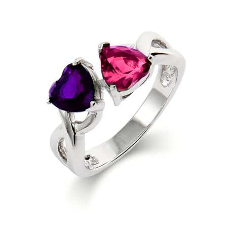 Close to the Heart 2 Hearts Birthstone Infinity Ring