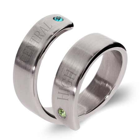 2 Stone Engravable Crossover Graduation Ring
