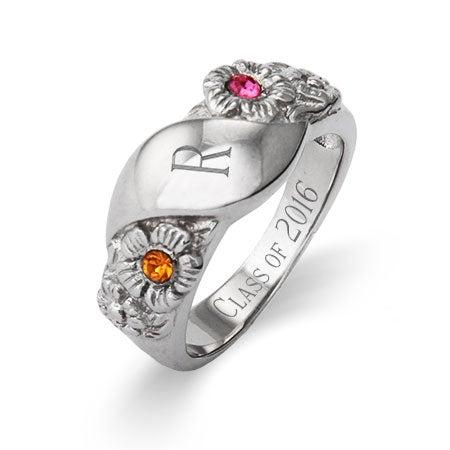2 Stone Custom Initial Graduation Class Ring For Women | Eve's Addiction®