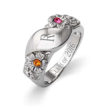 2 Stone Custom Initial Graduation Class Ring For Women
