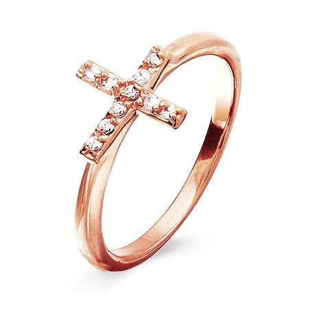 Rose Gold CZ Sideways Cross Ring | Eve's Addiction®