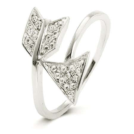 Sterling Silver CZ Pave Arrow Ring | Eve's Addiction®
