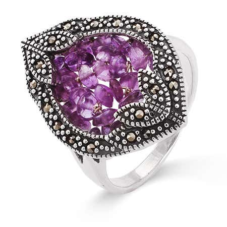Vintage Style Genuine Amethyst Beaded Marcasite Ring | Eve's Addiction®
