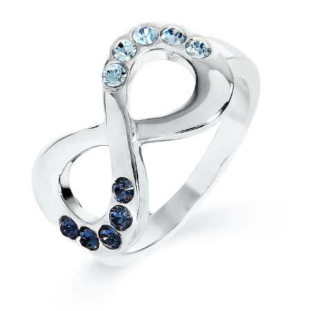 Couples Birthstone Infinity Ring in Sterling Silver
