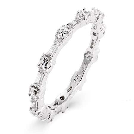 Baguette and Brillant Cut CZ Stackable Ring