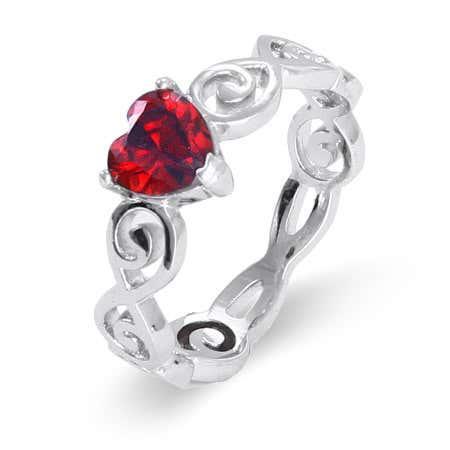 Heart Swirl Infinity Birthstone Ring