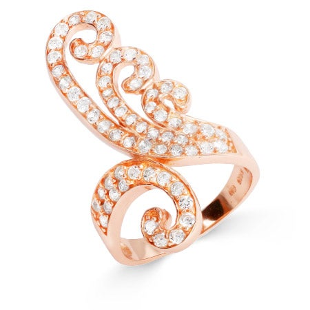 Vintage Style Rose Gold Vermeil CZ Flourish Ring | Eve's Addiction®