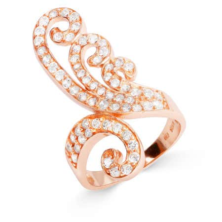 display slide 1 of 2 - Vintage Style Rose Gold Vermeil CZ Flourish Ring - selected slide
