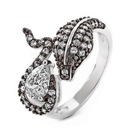 Spy Girl Inspired Queen Cobra CZ Sterling Silver Ring | Eve's Addiction®