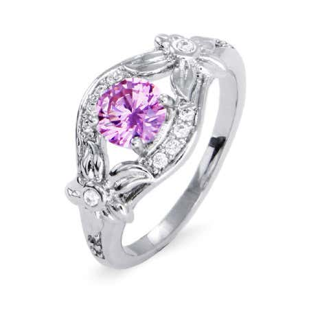 Sterling Silver CZ Lily Flower Birthstone Ring