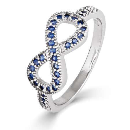 Cubic Zirconia Sapphire Infinity Ring