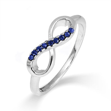 Petite Infinity Sapphire CZ Promise Ring | Eve's Addiction®